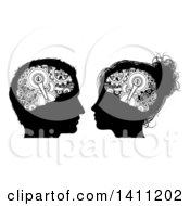 Clipart Of Black And White Silhouetted Male And Female Heads With Visible Gear Cogs In Their Brains Royalty Free Vector Illustration