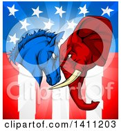 Political Democratic Donkey And Republican Elephant Elephant Butting Heads Over An American Themed Flag