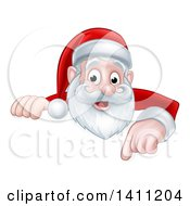 Cartoon Happy Christmas Santa Claus Pointing Down Over A Sign