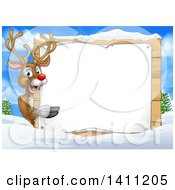 Clipart Of A Happy Rudolph Red Nosed Reindeer Pointing Around A Sign Over A Winter Landscape Royalty Free Vector Illustration