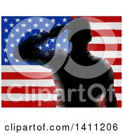 Clipart Of A Black Silhouetted Saluting Soldier Over An American Flag Royalty Free Vector Illustration by AtStockIllustration