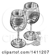 Clipart Of A Black And White Engraved Pair Of Wine Glasses Royalty Free Vector Illustration