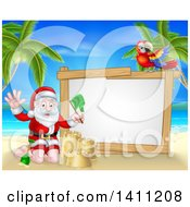 Clipart Of A Christmas Santa Claus Waving And Making A Sand Castle On A Tropical Beach By A Blank White Sign With A Parrot Royalty Free Vector Illustration