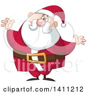 Clipart Of A Cartoon Chubby Christmas Santa Claus With Open Arms Royalty Free Vector Illustration