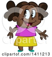 Clipart Of A Cartoon Happy Black Girl Welcoming Or Presenting Royalty Free Vector Illustration