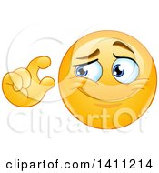Clipart Of A Cartoon Yellow Smiley Face Emoji Emoticon Gesturing A Small Measurement Royalty Free Vector Illustration