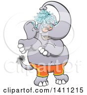 Cartoon Happy Elephant Wearing Shorts And Showering With His Trunk