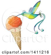 Clipart Of A Cartoon Hummingbird Eating Ice Cream From A Waffle Cone Royalty Free Vector Illustration