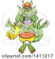 Clipart Of A Cartoon Monster Hitchhiking A Ride To The Beach Royalty Free Vector Illustration