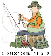Cartoon Caucasian Fisherman Putting A Worm On A Hook