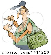 Cartoon Caucasian Fisherman Threading A Hook