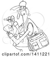Black And White Lineart Cartoon Fisherman Threading A Hook