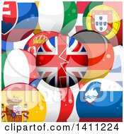 Clipart Of A 3d Broken British Sphere Over European Flag Spheres Royalty Free Vector Illustration