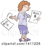 Clipart Of A Cartoon Caucasian Woman Moving On To Plan B Royalty Free Vector Illustration