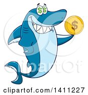 Cartoon Happy Shark Mascot Character Holding A Dollar Coin