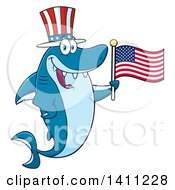 Cartoon Happy Shark Mascot Character Wearing A Top Hat And Waving An American Flag