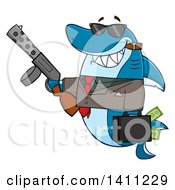 Clipart Of A Cartoon Happy Shark Mascot Character Gangster Businessman Smoking A Cigar Holding A Briefcase Full Of Money And A Gun Royalty Free Vector Illustration
