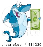 Clipart Of A Cartoon Happy Shark Mascot Character Holding A Banknote Royalty Free Vector Illustration