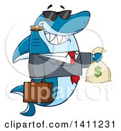 Clipart Of A Cartoon Business Shark Mascot Character Wearing Sunglasses Smoking A Cigar And Holding A Money Bag Royalty Free Vector Illustration