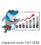 Clipart Of A Cartoon Business Shark Mascot Character Wearing Sunglasses And Giving A Thumb Up By A Profit Chart Royalty Free Vector Illustration