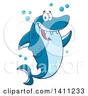 Clipart Of A Cartoon Happy Shark Mascot Character Waving Or Presenting Royalty Free Vector Illustration by Hit Toon