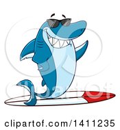 Cartoon Happy Shark Mascot Character Waving Wearing Sunglasses And Surfing