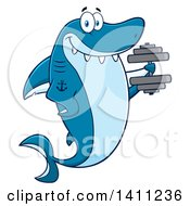 Clipart Of A Cartoon Happy Tattooed Shark Mascot Character Working Out With A Dumbbell Royalty Free Vector Illustration