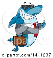 Clipart Of A Cartoon Business Shark Mascot Character Wearing Sunglasses And Giving A Thumb Up Royalty Free Vector Illustration