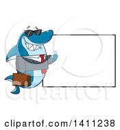 Clipart Of A Cartoon Business Shark Mascot Character Wearing Sunglasses And Giving A Thumb Up By A Blank Sign Royalty Free Vector Illustration