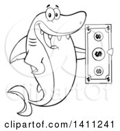 Cartoon Black And White Lineart Happy Shark Mascot Character Holding A Banknote