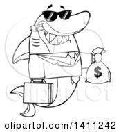 Cartoon Black And White Lineart Business Shark Mascot Character Wearing Sunglasses Smoking A Cigar And Holding A Money Bag