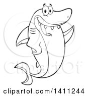 Cartoon Black And White Lineart Happy Shark Mascot Character Waving Or Presenting