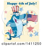 Cartoon Happy Shark Mascot Character Wearing A Top Hat And Waving An American Flag Over Stars