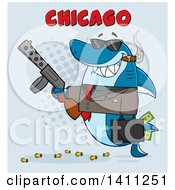 Clipart Of A Cartoon Happy Shark Mascot Character Gangster Businessman Smoking A Cigar Holding A Briefcase Full Of Money And A Gun With Text Over Blue Royalty Free Vector Illustration