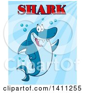 Cartoon Happy Shark Mascot Character Waving Or Presenting With Text Over Blue