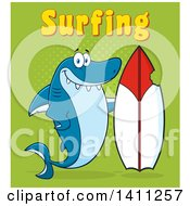 Cartoon Happy Shark Mascot Character With A Bite Taken Out Of A Surf Board And Surfing Text On Green