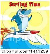 Cartoon Happy Shark Mascot Character Waving Wearing Sunglasses And Surfing With Text Over A Sunset Sky