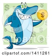 Clipart Of A Cartoon Happy Shark Mascot Character Holding A Dollar Coin Over A Green Pattern Royalty Free Vector Illustration
