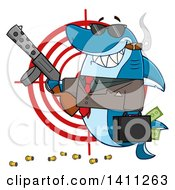 Clipart Of A Cartoon Happy Shark Mascot Character Gangster Businessman Smoking A Cigar Holding A Briefcase Full Of Money And A Gun Over A Target Royalty Free Vector Illustration by Hit Toon