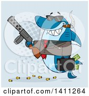 Clipart Of A Cartoon Happy Shark Mascot Character Gangster Businessman Smoking A Cigar Holding A Briefcase Full Of Money And A Gun Over Blue Royalty Free Vector Illustration
