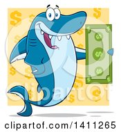 Clipart Of A Cartoon Happy Shark Mascot Character Holding A Banknote Over A Yellow Dollar Pattern Royalty Free Vector Illustration
