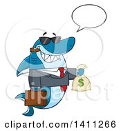 Clipart Of A Cartoon Business Shark Mascot Character Talking Wearing Sunglasses Smoking A Cigar And Holding A Money Bag Royalty Free Vector Illustration