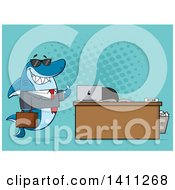 Cartoon Business Shark Mascot Character Wearing Sunglasses And Giving A Thumb Up By An Office Desk Over Blue