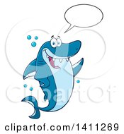 Cartoon Happy Shark Mascot Character Talking Waving Or Presenting