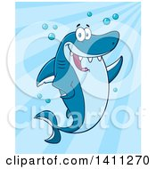 Clipart Of A Cartoon Happy Shark Mascot Character Waving Or Presenting Over Blue Royalty Free Vector Illustration