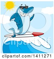 Cartoon Happy Shark Mascot Character Waving Wearing Sunglasses And Surfing Over A Blue Sky