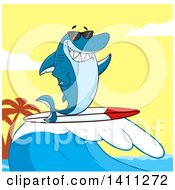 Cartoon Happy Shark Mascot Character Waving Wearing Sunglasses And Surfing Over A Sunset Sky