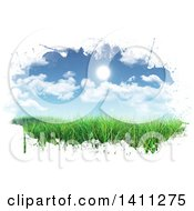 Clipart Of A Scene Of A Sunny Blue Sky With Clouds Over Grass With White Grunge Edges Royalty Free Illustration