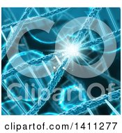 Clipart Of A Background Of 3d Diagonal Dna Strands In Blue With A Flare Royalty Free Illustration