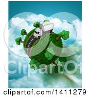Clipart Of A 3d Highway With A Big Rig Truck Around A Grassy Planet Over Sky Royalty Free Illustration